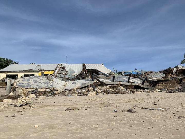 Destruction caused in Tonga by combination of Cyclone Harold and a king tide.