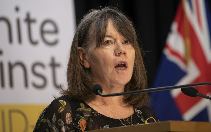 Director of Public Health Dr Caroline McElnay at the announcement of New Zealand's second death from Covid-19.