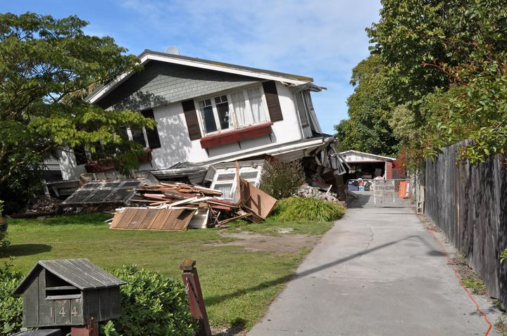 A house in Avonside, damaged in the 22 February Canterbury earthquake, 2011.