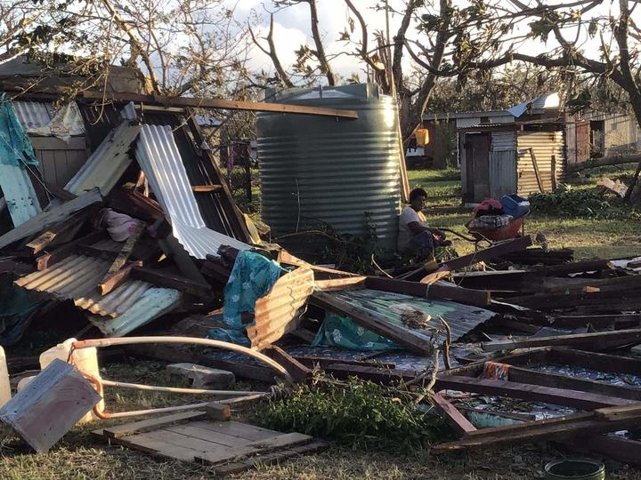Devastation from TC Harold at Bouwaqa Village, Vatulele, Fiji.
