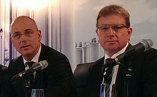 Fonterra chief executive Theo Spierings, left, and chairman John Wilson.