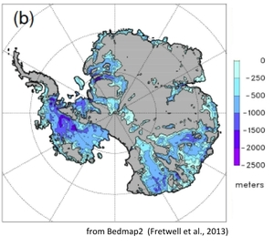 This map shows the areas of the Antarctic ice sheet that are sitting on bedrock, well below sea level.