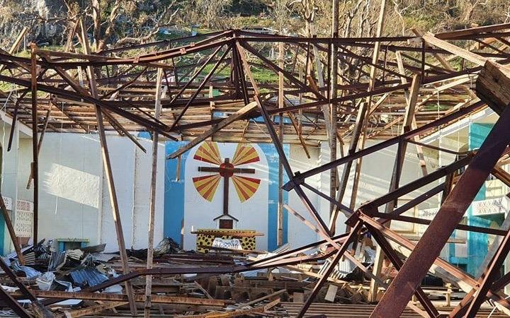 The Melsisi Catholic Church was ruined by Tropical Cyclone Harold.