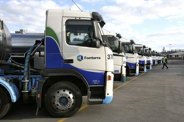 Fonterra milk tankers parked up between collections