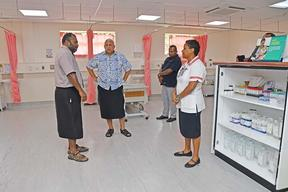 Fijian government officials visit isolation facilities.