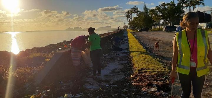 No Pelesitiki Campaign in Tonga cleaning up the foreshores in Nuku'alofa post-Cyclone Harold