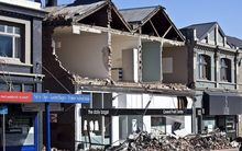 Earthquake damage to shops on Victoria Street, Christchurch, after the September 2010 earthquakes.