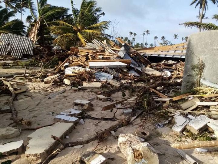 Whitesands Beach Resort in Ha'utu in ruins post-Cyclone Harold