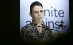 WELLINGTON, NEW ZEALAND - APRIL 16: Prime Minister Jacinda Ardern looks on during a press conference at Parliament on April 16, 2020 in Wellington, New Zealand.