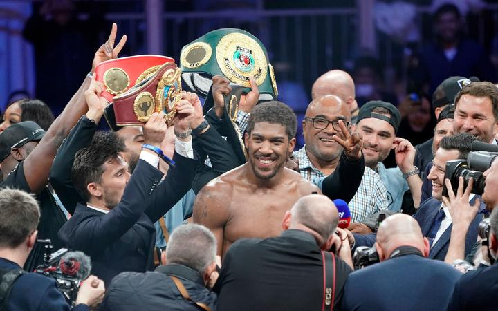 """Clash On The Dunes"" Anthony Joshua celebrates after beating Andy Ruiz."