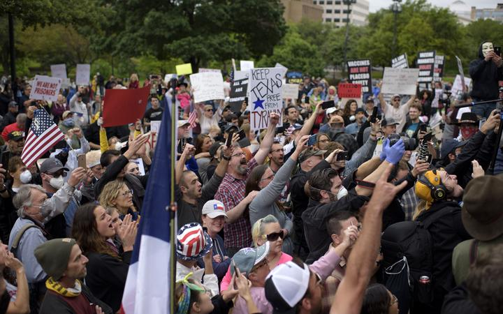 Protesters in Texas ignore social distancing, oppose lockdown ...
