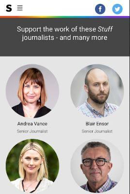 Stuff's appeal on readers highlights some of its senior reporters.