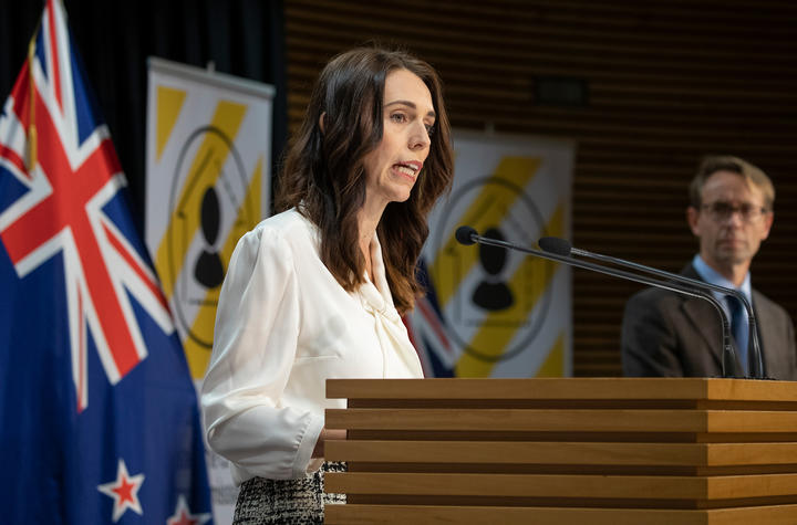 Prime Minister Jacinda Ardern and Director General of Health Ashley Bloomfield announcing alert level change on 20 April