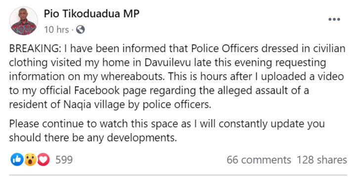The president of Fiji's National Federation Party, Pio Tikoduadua, describes officers showing up to his home in the early hours of Tuesday morning.