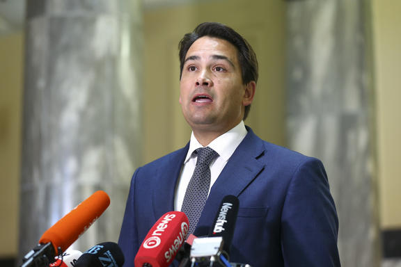 National leader Simon Bridges speaks to media during a press conference at Parliament on 21 April 2020