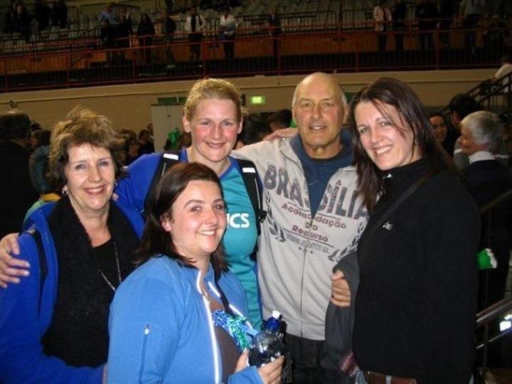 The Hutton family after the last National Bank Cup final in 2007 - won by the Steel - (from left) Val, Lisa, Megan, Roger, Kelly.