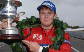 Nick Cassidy after winning the New Zealand Grand Prix Trophy for the third consecutive year in 2014.