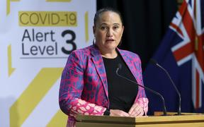 WELLINGTON, NEW ZEALAND - APRIL 28: Carmel Sepuloni speaks to media during a press conference at Parliament on April 28, 2020 in Wellington, New Zealand.