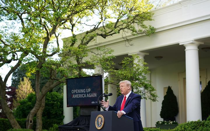 US President Donald Trump speaks during a news conference on the novel coronavirus, COVID-19, in the Rose Garden of the White House in Washington, DC on April 27, 2020.