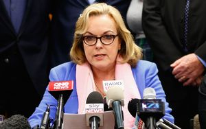 Judith Collins announcing her resignation.