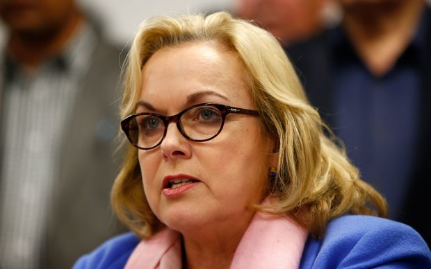 Judith Collins makes a statement to media following her resignation on 30 August.