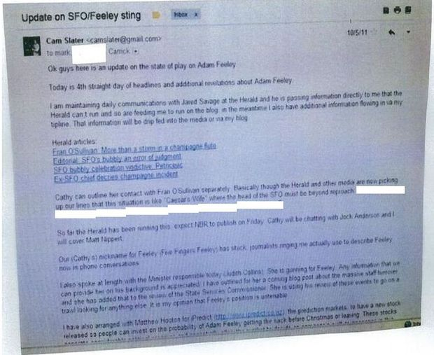 The email purporting to be from Cameron Slater.