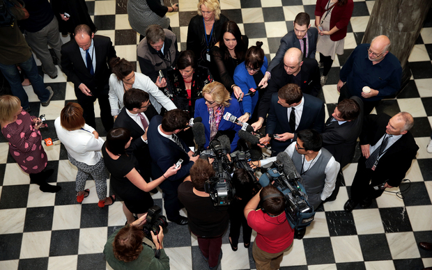 060514. Photo Diego Opatowski / Radio NZ. National MP Judith Collins questioned by the press on the way to the debating chamber, Parliament.