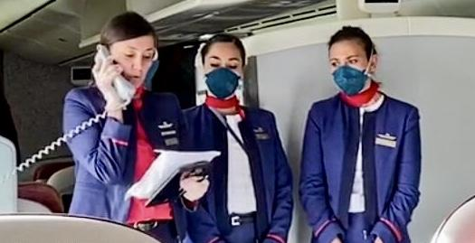 Latam cabin crew on repatriation flight to Rapa Nui or Easter Island.