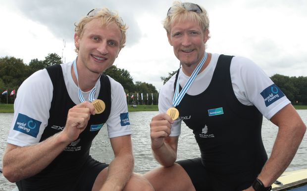 Hamish Bond (L) and Eric Murray after their win in the men's pair.