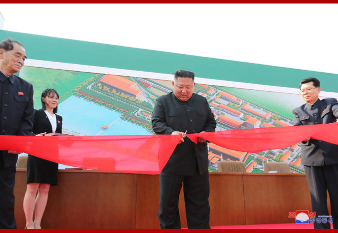 A photo released from North Korea's official Korean Central News Agency on May 2 reportedly shows Kim Jong Un attending a ceremony to mark the completion of Sunchon phosphatic fertilizer factory in South Pyongan province. The report cannot be independently confirmed.