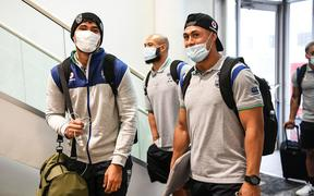 Eliesa Katoa and Roger Tuivasa-Sheck. Warriors players leave on a charter flight to travel to Tamworth to begin their 14-day quarantine.
