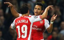 Alexis Sanchez of Arsenal celebrates scoring a goal.