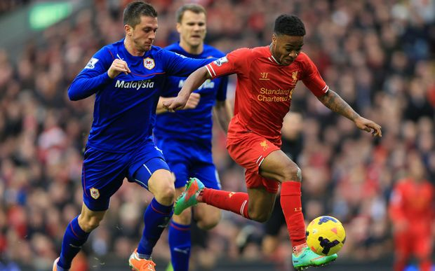 Raheem Sterling of Liverpool in action.