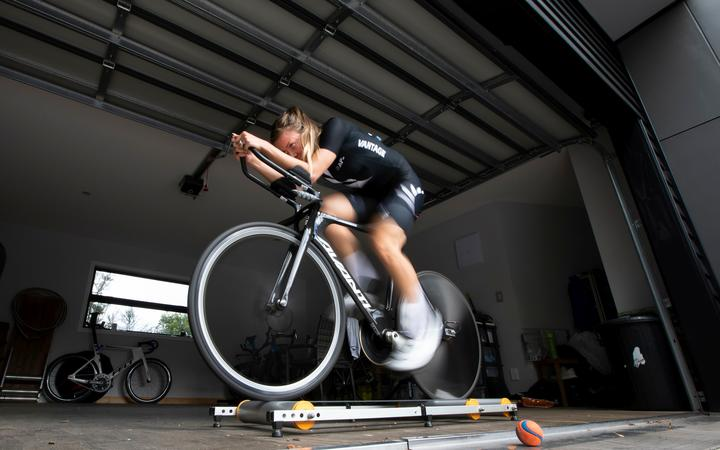 New Zealand track and road cyclist Rushlee Buchanan trains at her Cambridge home.