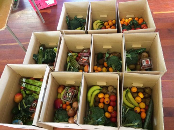 Food boxes put together by non-profit organisation, Food Together