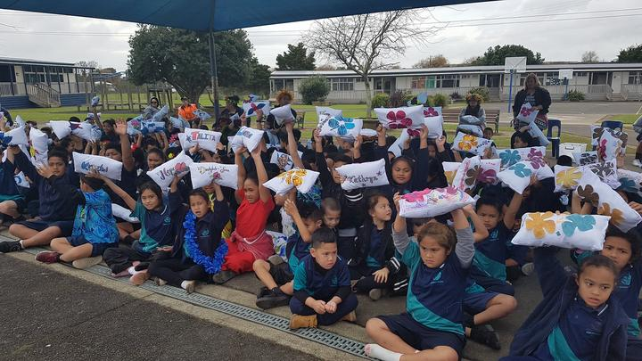 Students of Rongomai Primary School in Ōtara, South Auckland