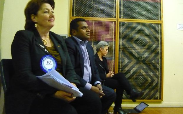 Maggie Barry, left, Kris Faafoi and Laila Harre at the Coalition for Better Broadcasting debate.