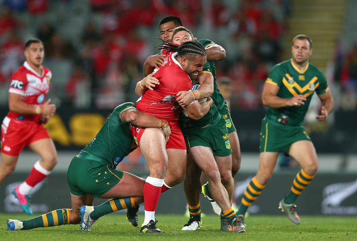 Konrad Hurrell tests the Kangaroos defence.