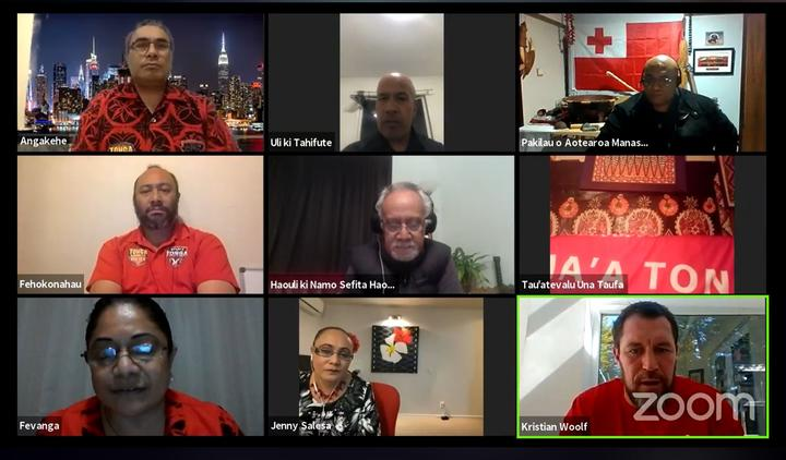 Tongan-born New Zealand government minister Jenny Salesa (bottom middle) was also a guest during the live-stream.