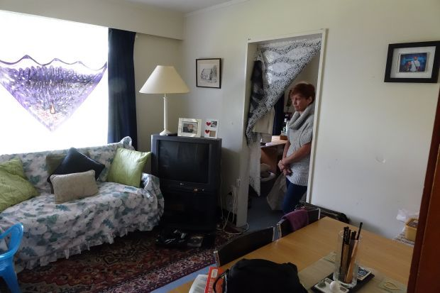 Sandra in her room at Monte Cecilia Housing Trust's emergency accommodation