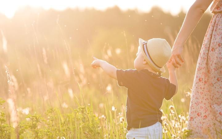 Back view on a cute little toddler boy in a straw hat holding his mother's hand and pointing into distance. Adorable child walking with his mom in the park on a sunny summer day. Family on sunset