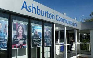 The WINZ office in Ashburton, where shots were fired this morning.