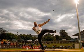 Tom Walsh in the Shot Put at the Sir Graeme Douglas International Track Challenge. 21 March 2019.