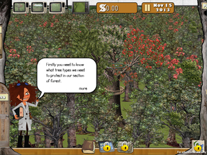 A page from the online game Ora, showing Liana the scientist-guide for the game, which is based on real-life data from ecological modelling of possum impacts on native forest.