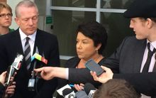 Minister for Social Development Paula Bennett addresses the media in Ashburton.