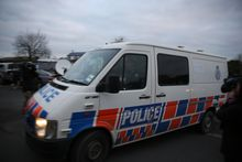 The police van, believed to be carrying Russell John Tully.