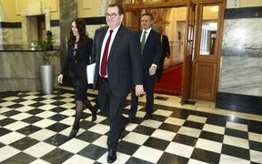 WELLINGTON, NEW ZEALAND - MAY 14: L to R: Prime Minister Jacinda Ardern, Finance Minister Grant Robertson and Greens leader James Shaw walk to the house during Budget 2020 delivery day at Parliament May 14, 2020 in Wellington, New Zealand.