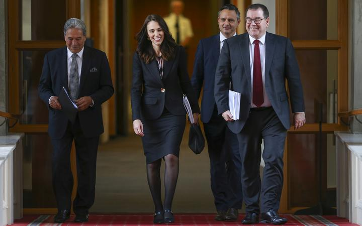 Deputy Prime Minister Winston Peters, Prime Minister Jacinda Ardern, Greens leader James Shaw and Finance Minister Grant Robertson walk to the house during Budget 2020 delivery day at Parliament May 14, 2020 in Wellington, New Zealand.