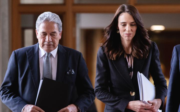 Deputy Prime Minister Winston Peters and Prime Minister Jacinda Ardern as they head to the House to present the 2020 Budget.