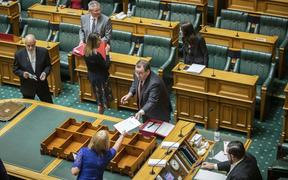 Grant Robertson tables Budget 2020 in Parliament.